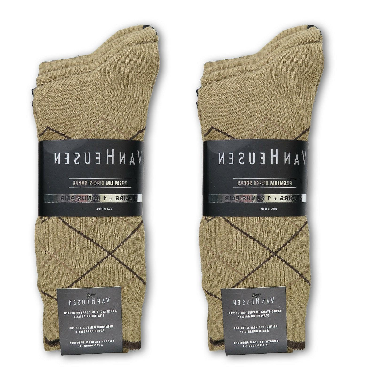 Van Heusen Men's Premium Quality Dress Socks Crew Khaki Col