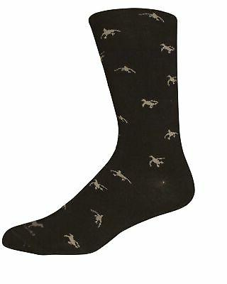 Brown Dog - Men's Black Dress Sock with Ducks Design - Size