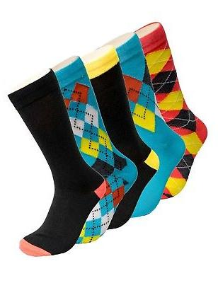 Mens Fun Socks 5 Pack Colorful Funky Patterned Dress Socks