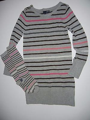 NWT Gap Kids Gray Striped Girls Black Pink Sweater Dress Kne