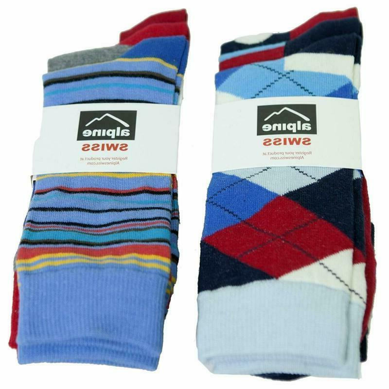 Alpine Mens Cotton 6 Pack Dress Socks Solid Ribbed Size
