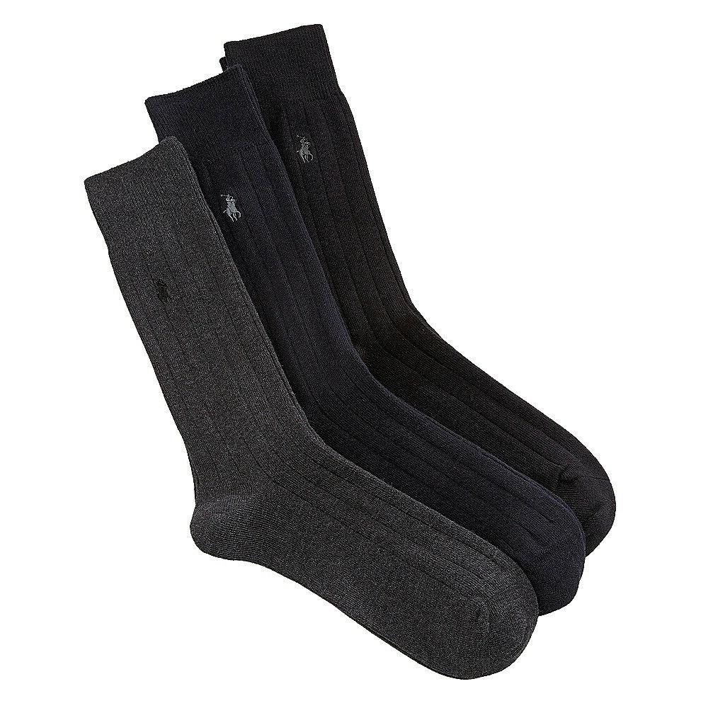 Polo Ralph Lauren Mens Dress Socks 3 Pair - Black, Sock Size