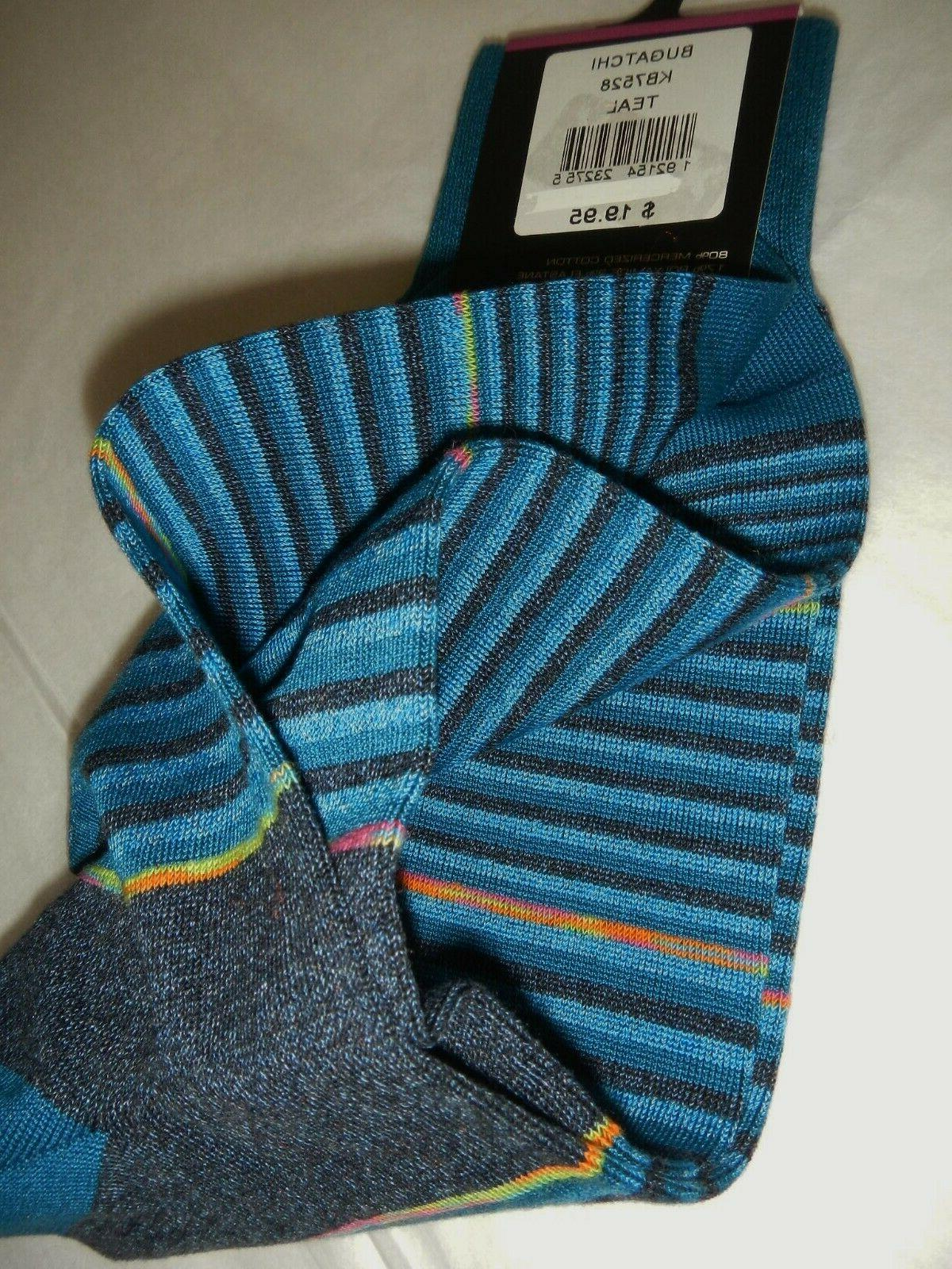 BUGATCHI DRESS SOCKS, TEAL/BLUE/MULTI STRIPED, ONE NWT