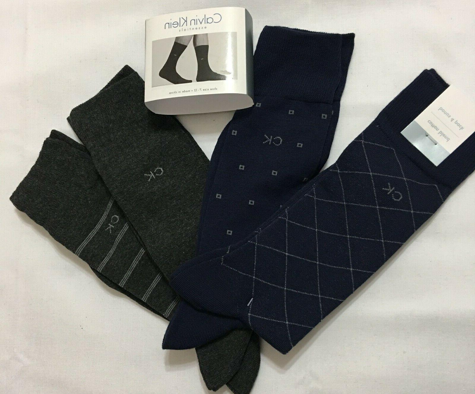 Calvin Klein Men's 4-Pack Geo Pattern Dress Socks