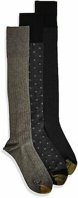 Gold Toe Men's Over The Calf Dress Socks, 3 Pairs Black/Char
