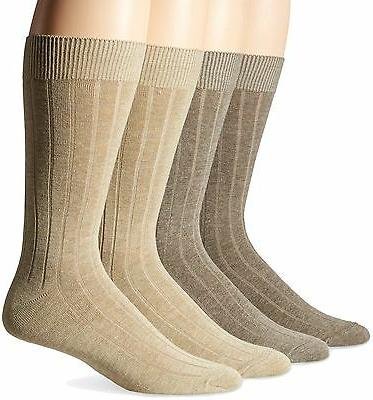 Dockers Men's 4 Pack Dress Wide Rib Crew Socks Khaki Assorte