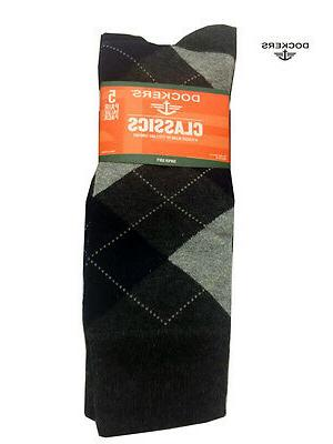 Dockers Mens 5 Pack Classics Dress Argyle Black Crew Socks,