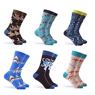 WeciBor Men's Colorful Novelty Patterned Casual Crew Socks P