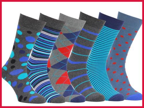 Easton Marlowe Mens 6 Pack Colorful Patterned Dress Socks Eu