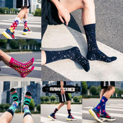 Mens Cotton Happy Colorful Fashion Casual Sock Dress