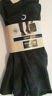 Mens Dockers Dress Basic Gray Ribbed  3 pk Socks Shoe Size 8