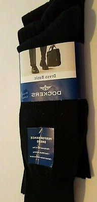 Mens Dockers Dress Casual Black Wide Ribbed 3 pk Socks Shoe