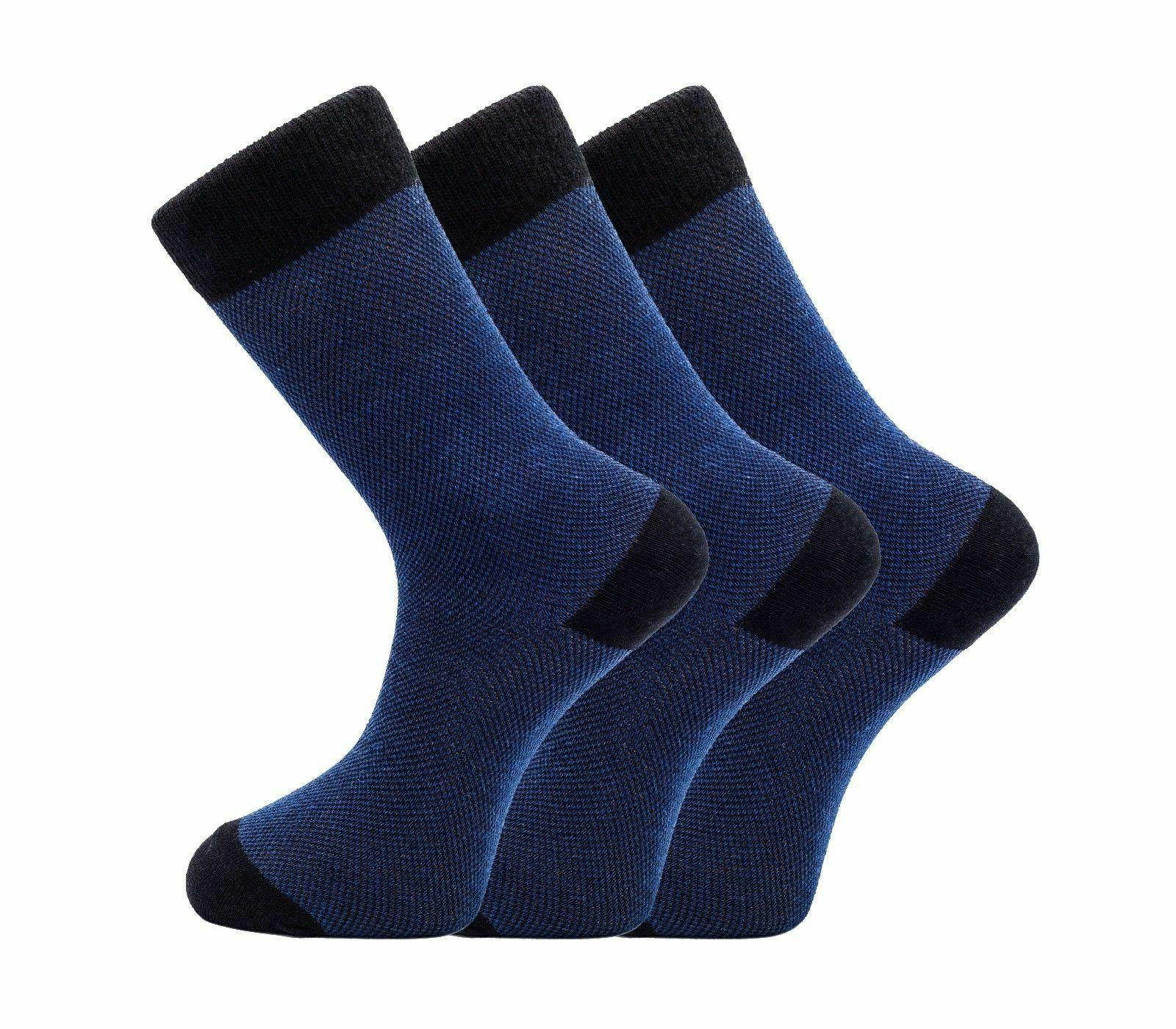 1SOCK2SOCK Mens Cotton Dress Socks Casual Blue Crew Size Lar