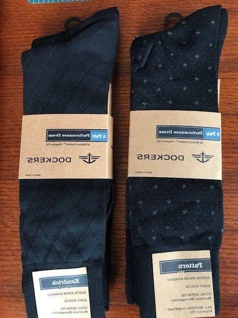 DOCKERS MENS SIZE 6-12 PERFORMANCE DRESS SOCKS - 6 PAIR