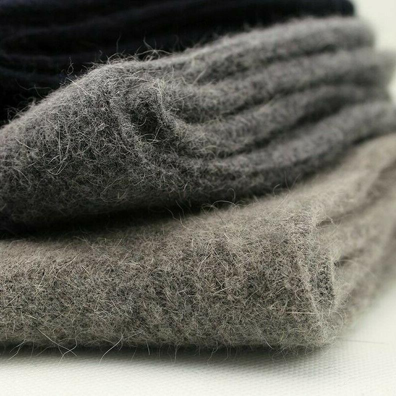 Merino Cashmere Pack Men Socks Solid Thick Thermal Classic Crew