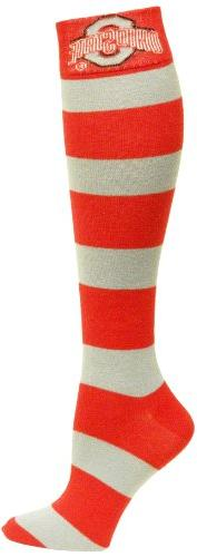 NCAA Ohio State Buckeyes Gray and Scarlet Stripe Dress Socks
