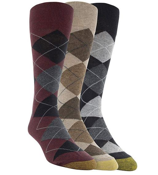 NEW GOLD TOE Men's 3 pack Carlyle Crew Multi-color