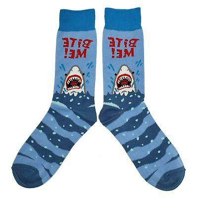 NWT Bite Socks Novelty Men Blue Fun Sockfly
