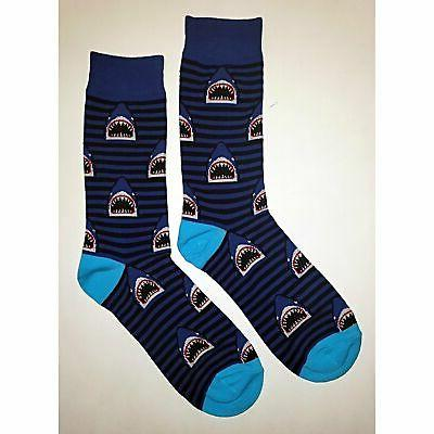 nwt stripe shark dress socks novelty men