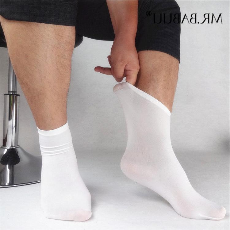 SALE 5Pairs Pack Men's White Thin Silk Short Ankle Dress Cas