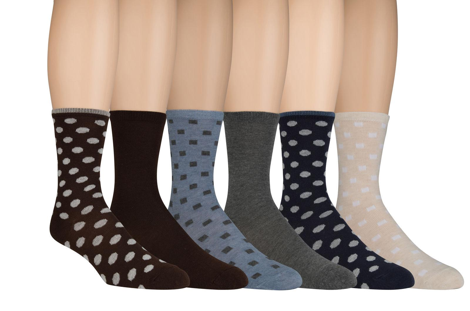 Sonoma Women's Dress Crew Socks Solid & Patterned 6 Pairs Sh