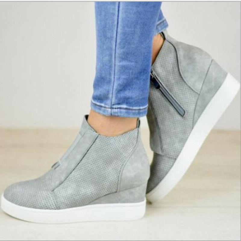 Womens Hidden Wedge Sneakers Shoes Size