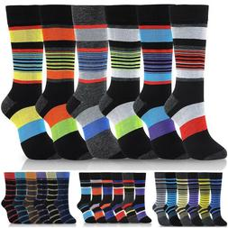 Lot of 6 Pairs New Cotton Men Striped Style Dress Socks Size