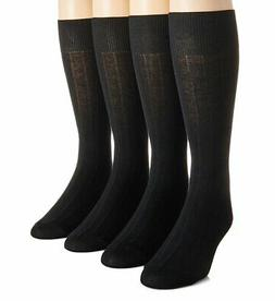 Calvin Klein Men's 4-pack Solid Ribbed Dress Socks, One Size