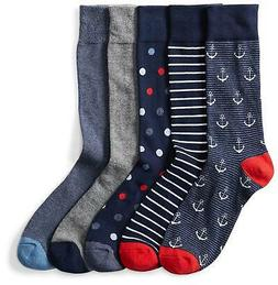 Goodthreads Men's 5-Pack Patterned Socks,, Assorted Blue/Red