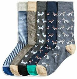 Goodthreads Men's 5-Pack Patterned Socks, Assorted Dogs, Sho