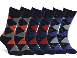 Easton Marlowe Men's Classic Cotton Argyle Dress Socks - 6pk