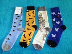 Men's Dress or Casual Crew Socks Size Large  Chickens ,Tiger