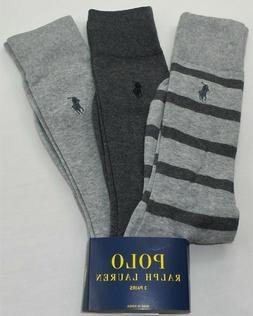 Polo Ralph Lauren Men's Dress Socks 3 Pairs Pack Large Grey