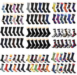 Gelante Men's Dress Socks Funky Fashion Casual Cotton 12 Pai