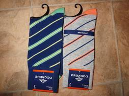 Men's Dockers Dress Socks Stripe Crew Fits 6-12 NEW
