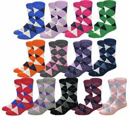 Men's Premium Fabric Argyle Dress Socks Diamond Pattern Mult