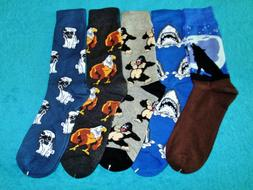Men's Printed Dress Socks 5 Pair Size Large  Wolf, Sharks, G