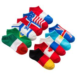 Men Soft Low Cut Ankle Socks Flags Casual Dress Sports No Sh