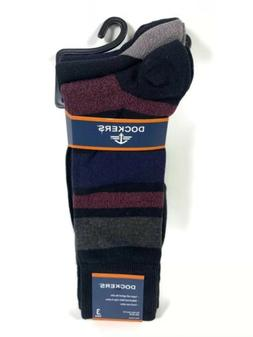 Mens Dockers 3 Pairs Classic Dress Socks Blue Black  Fits Sh