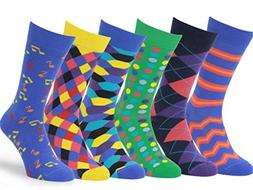 mens 6 pack colorful patterned dress socks