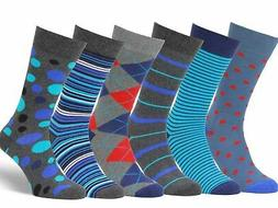 Easton Marlowe Mens 6 Pack Colorful Patterned Dress Socks, E