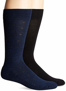 Mens Casual Dress Crew Socks Navy 2 Pack Sock Size 10-13 Dr.