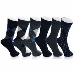 mens cotton 6 pack dress socks solid