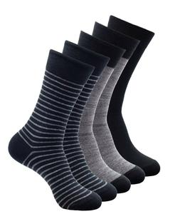 1SOCK2SOCK Mens Cotton Dress Socks 5 Pairs Fashion Casual Cr