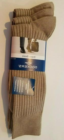 Mens Dockers Dress Basic Khaki Ribbed Performance 3 pk Socks
