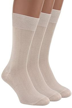 Mens Dress Socks, 3 packs Rich European Organic Cotton Beige