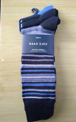 Cole Haan mens dress SOCKS 3 pair Black Blue Grey NEW with T
