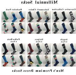 Mens Dress Socks 6 Pack Colorful Design Fashion Premium Cott