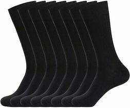 WANDER Mens Dress Socks 8 Pairs Classic Rib Cotton Solid, Bl