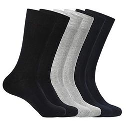 WANDER Mens Dress Socks,Thin Cotton Crew Socks for men,6 Pai